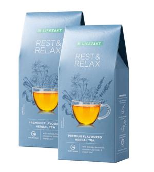 LR LIFETAKT Rest & Relax bylinný čaj s příchutí série 2 x 75 g + sítko na čaj zdarma
